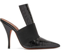 Elastic-trimmed croc-effect leather mules
