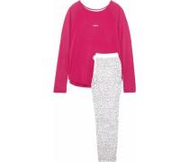 Printed fleece and stretch modal-jersey pajama set