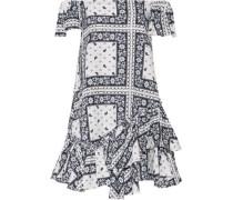 Minella off-the-shoulder ruffled printed satin-twill mini dress