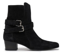 Buckle-detailed Suede Ankle Boots Black