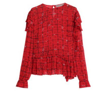 Bryoni Ruffle-trimmed Floral-print Crepe De Chine Blouse Tomato Red