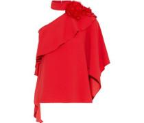 Woman One-shoulder Floral-appliquéd Ruffled Crepe Blouse Red