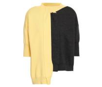 Woman Asymmetric Two-tone Wool Top Pastel Yellow