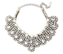 Woman Crystal, Faux Pearl And Satin Necklace Silver