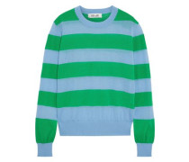 Striped Cotton-blend Sweater Light Blue
