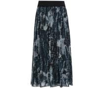 Pleated Printed Georgette Midi Skirt Black