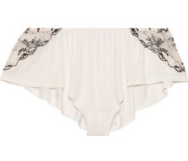 Paloma Embroidered Lace-trimmed Jersey Pajama Shorts Off-white