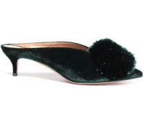 Woman Powder Puff Pompom-embellished Velvet Mules Emerald