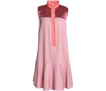 Ruffled twill-trimmed satin and jacquard mini dress