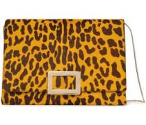 Leopard-print Calf Hair Shoulder Bag Animal Print Size --