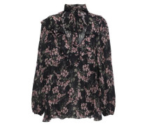 Pussy-bow Floral-print Georgette Blouse Black Size 0