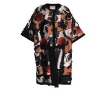 Frayed silk-blend jacquard coat
