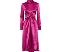Woman Nara Ruched Washed-satin Dress Magenta