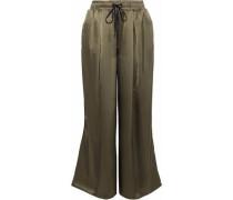 Velvet-trimmed satin wide-leg track pants