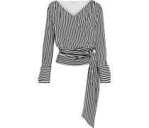 Alba striped silk wrap top