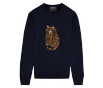 Mia Sequin-embellished Wool Sweater Navy