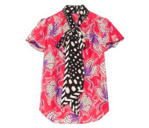 Pussy-bow printed silk-habotai blouse