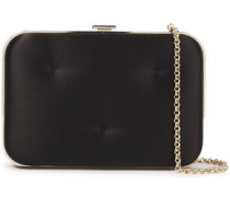Chubby Quilted Satin Box Clutch Black Size --