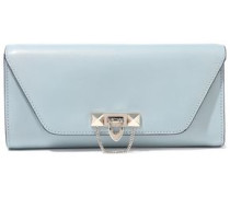Demilune Studded Leather Clutch Sky Blue Size --