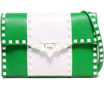 Studded Two-tone Leather Shoulder Bag Green Size --