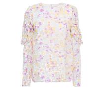 Woman Ruffle-trimmed Paneled Floral-print Devoré-silk Top Light Gray