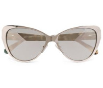 Cat-eye Acetate And Gold-tone Mirrored Sunglasses Gold Size --