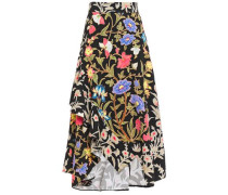 Ruffled Floral-print Cloqué Midi Skirt Black