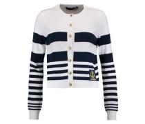Striped stretch-knit cardigan