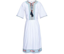 Pleated Embroidered Cotton-poplin Dress White