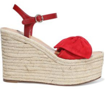 Suede And Leather Espadrille Wedge Sandals Red