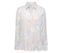 Leema Floral-print Washed Silk-blend Shirt Light Gray