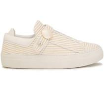 Leather-trimmed Metallic Raffia Woven Sneakers White