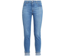 Alana Cropped Distressed High-rise Skinny Jeans Mid Denim  6