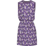 Floral-print Crepe De Chine Mini Dress Purple