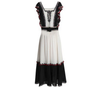 Beaded embroidered cotton woven midi dress