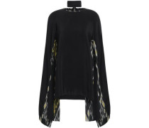 Cutout Silk-crepe Blouse Black