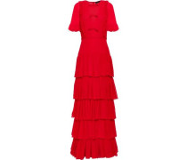 Tiered Pintucked Silk-chiffon Gown Red