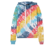 Embroidered Tie-dyed Cotton-jersey Hooded Sweatshirt Multicolor