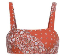 + We Wore What Rosy Floral-print Bikini Top Bright Orange