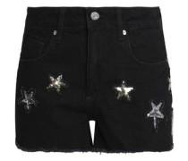 Sequin-embellished denim shorts