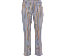 Cropped Striped Cotton-blend Twill Kick-flare Pants Navy Size 00