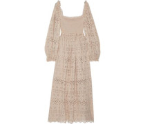 Woman Bayou Broderie Anglaise Cotton And Silk-blend Maxi Dress Neutral