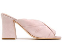 Pleated Suede Sandals Pastel Pink