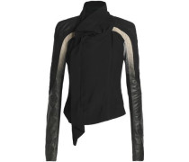 Draped paneled crepe, leather and knitted biker jacket