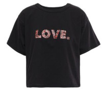 Printed Cotton-jersey T-shirt Black