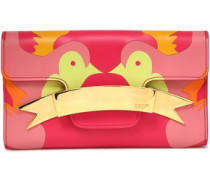 Printed Leather Clutch Bright Pink Size --
