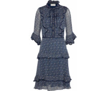 Pussy-bow Ruffle-trimmed Floral-print Chiffon Dress Navy Size 14