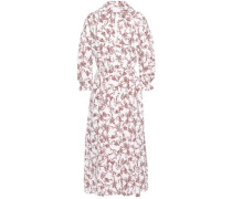 Pleated Floral-print Crepe Midi Dress White Size 16