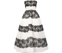 Lace-paneled Point D'esprit Tulle Gown Black Size 14