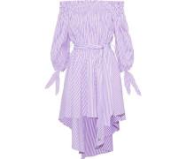 Lou Off-the-shoulder Striped Cotton-poplin Mini Dress Lavender